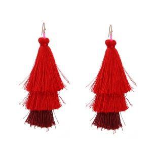 Trendy Layered Red Tassels Dangle Drop Earrings
